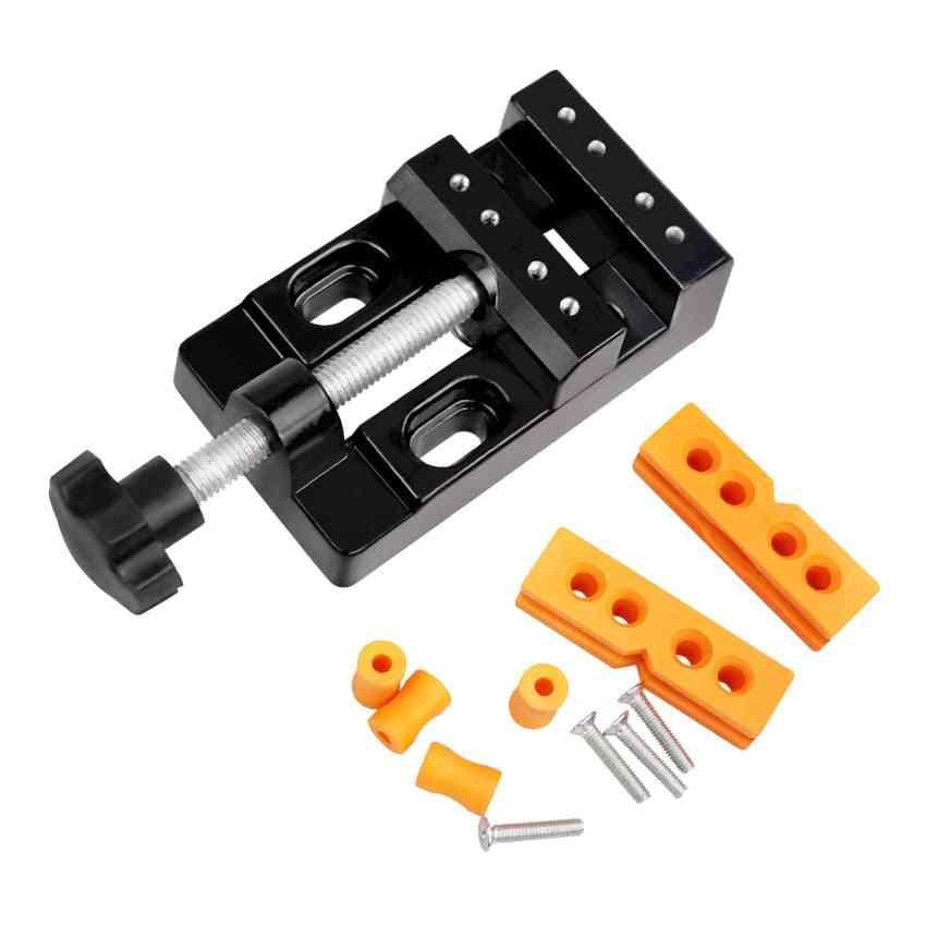Mini Flat Clamp Bench Vise, Aluminum Alloy Drill Press Vice Carving Machine Tools