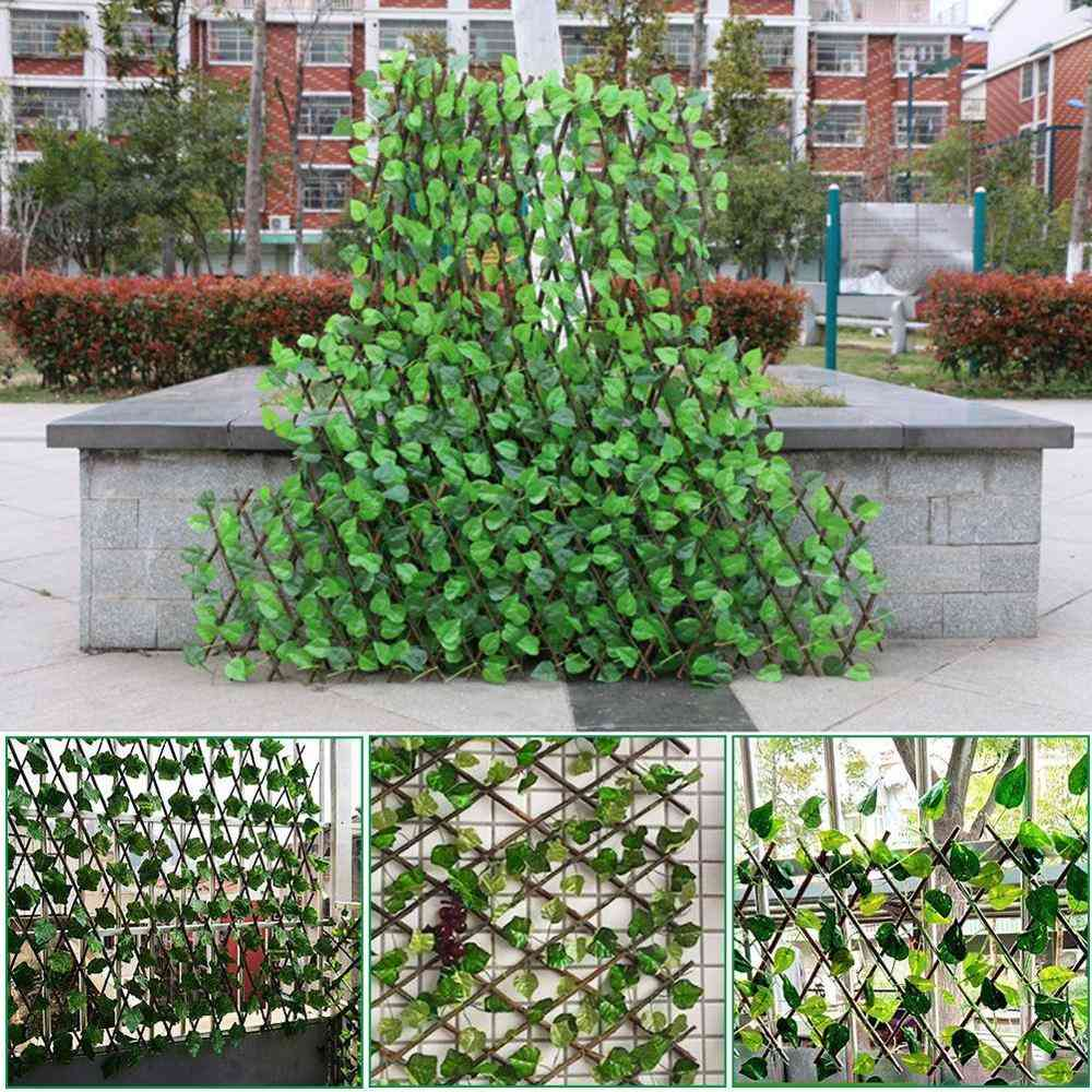 Adjustable Retractable Artificial Leaf Roll, Uv Hedging Wall Fence