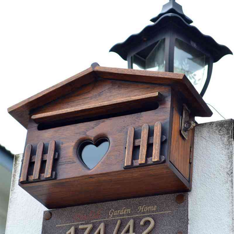 1pc- Wooden Outdoor, Rainproof Suggestion, Lockable Wall Mounted, Post Box