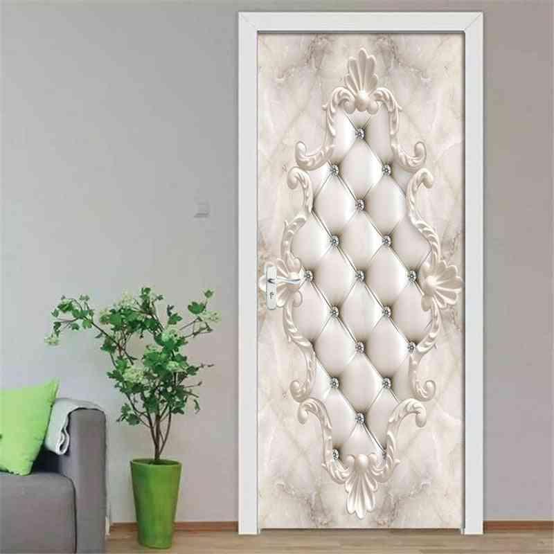 3d White- Soft Bag Diamond, Self-adhesive Mural Wallpaper, Door Sticker
