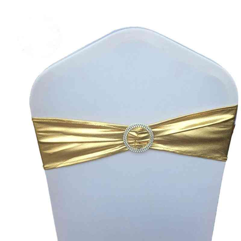 Spandex Elastic Chair Sash Band With Buckle For Wedding Banquet Party
