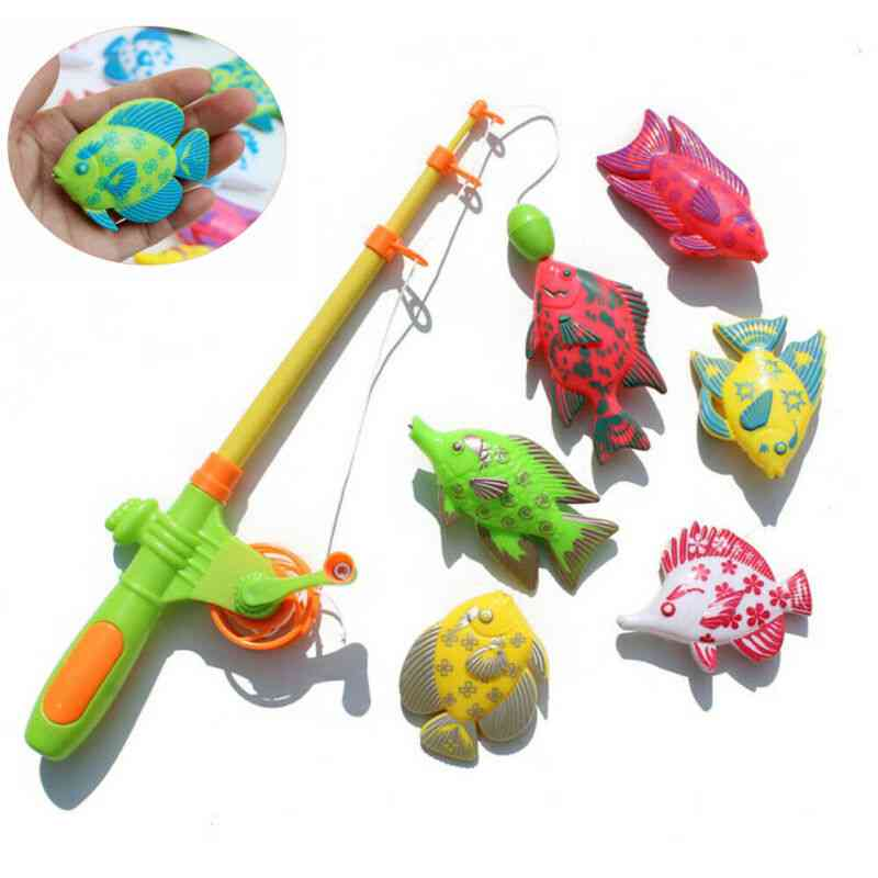 Magnetic Fishing Pole Rod Model Fish Kid Baby Bath Toy