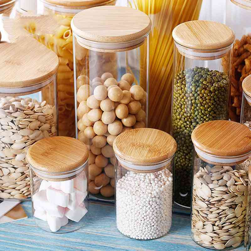 Transparent Container Glass Jars With Lids - Kitchen Accessories