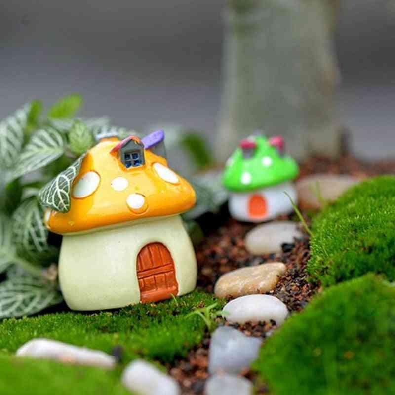 Mushroom House Resin, Figurine Craft Plant Pot For Garden Decoration