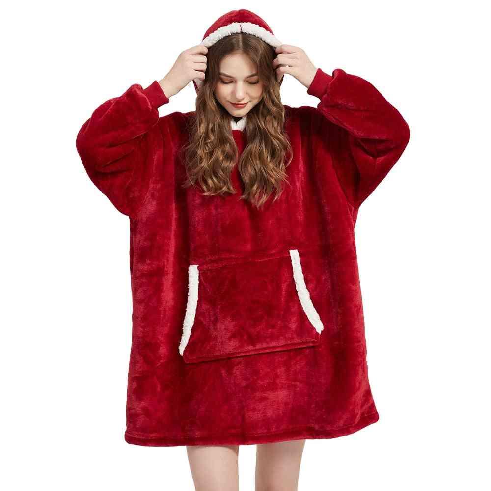 Winter Sherpa Blanket With Sleeve Ultra Plush Hoodie, Warm Flannel Hooded