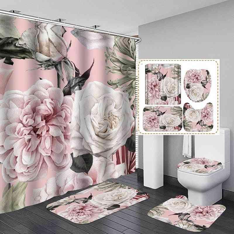 Big Flower Shower Mat Set With Carpet, Bath Screen Durable Curtains Hooks