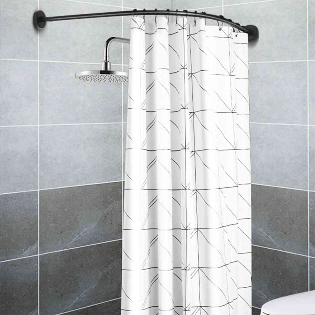 Extendable Corner Shower Curtain Rod Pole, Stainless Steel Rail Bar, Bath Door, Hardware Heavy Loaded With Metal Hooks