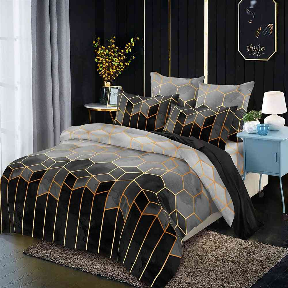 Geometric Pattern Gilded Bedding Duvet Cover With Pillowcase