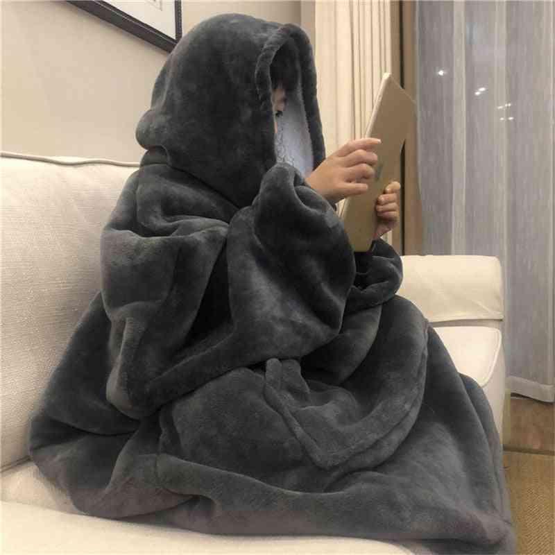 Warm Thick Tv Pocket Hooded Blanket