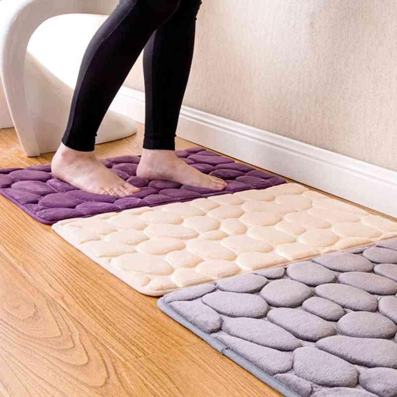 Bathroom Flannel Pad, Floor Carpet, Foam Coral Fleece Mats Set