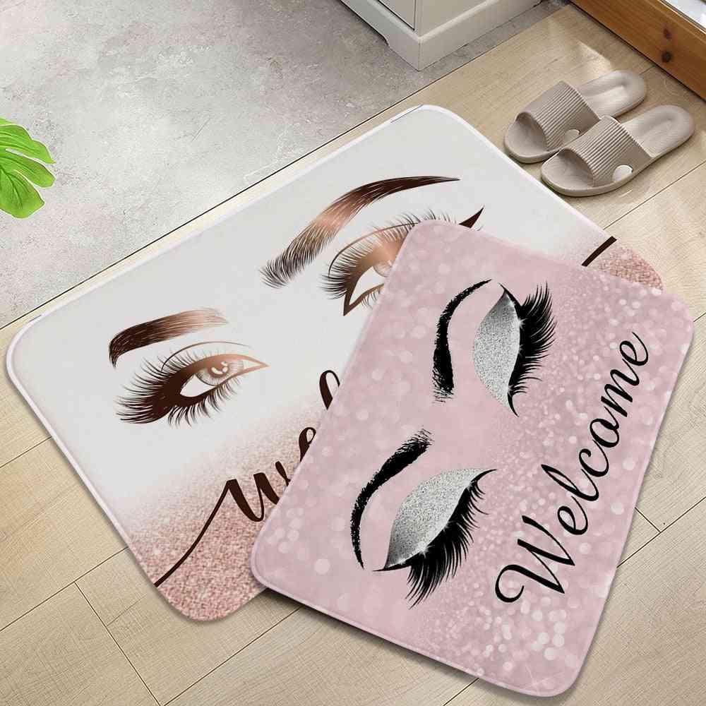Anti-slip Absorb Water Cartoon Eyelash Bathroom Kitchen Bedroon Floor Mat