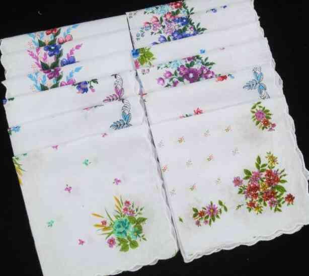 White Lace Printed Women Square Handkerchief Ladies Hanky, Towel