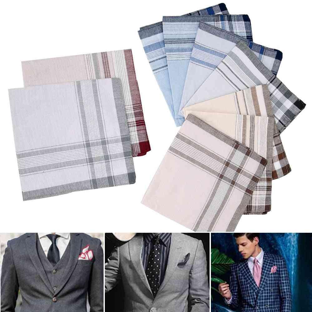 Multicolor Plaid Stripe Pocket For Party Business, Chest Towel (10 Pcs Random Color)