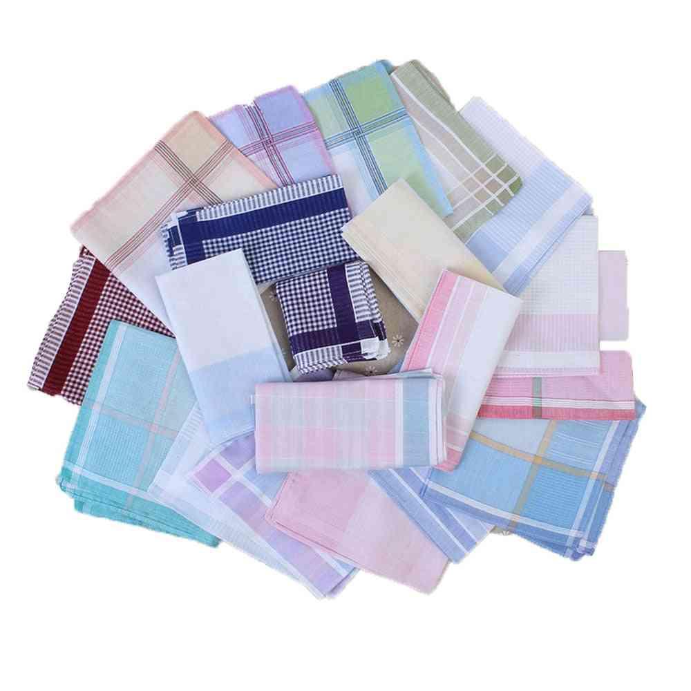 10pcs- Striped Plaid, Handkerchief Cotton Printing, Hanky Square Towel