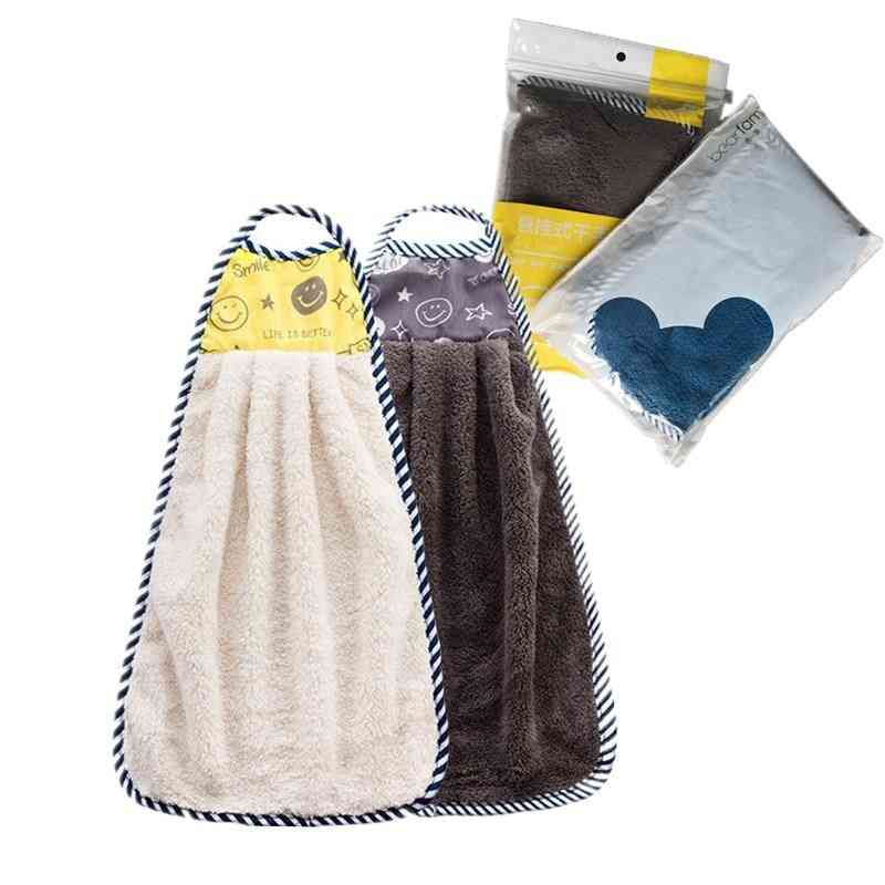 2pcs- Microfiber Hanging Kitchen, Handkerchief Hand Towel For Bathroom (a)