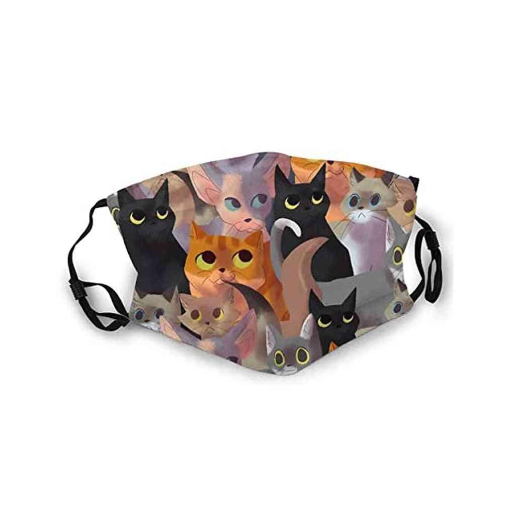 Washable Reusable- Mouth Cats Print, Ski Cotton Mask, Women (a)