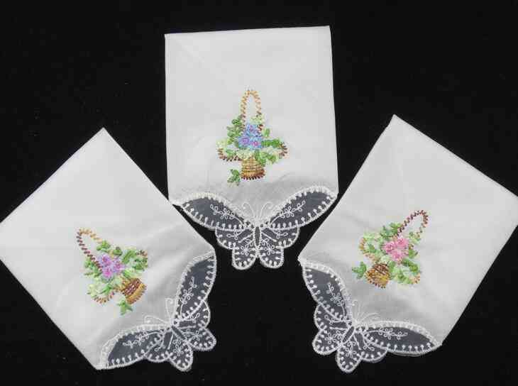 Embroidered Lace, Flower Printed Hanky