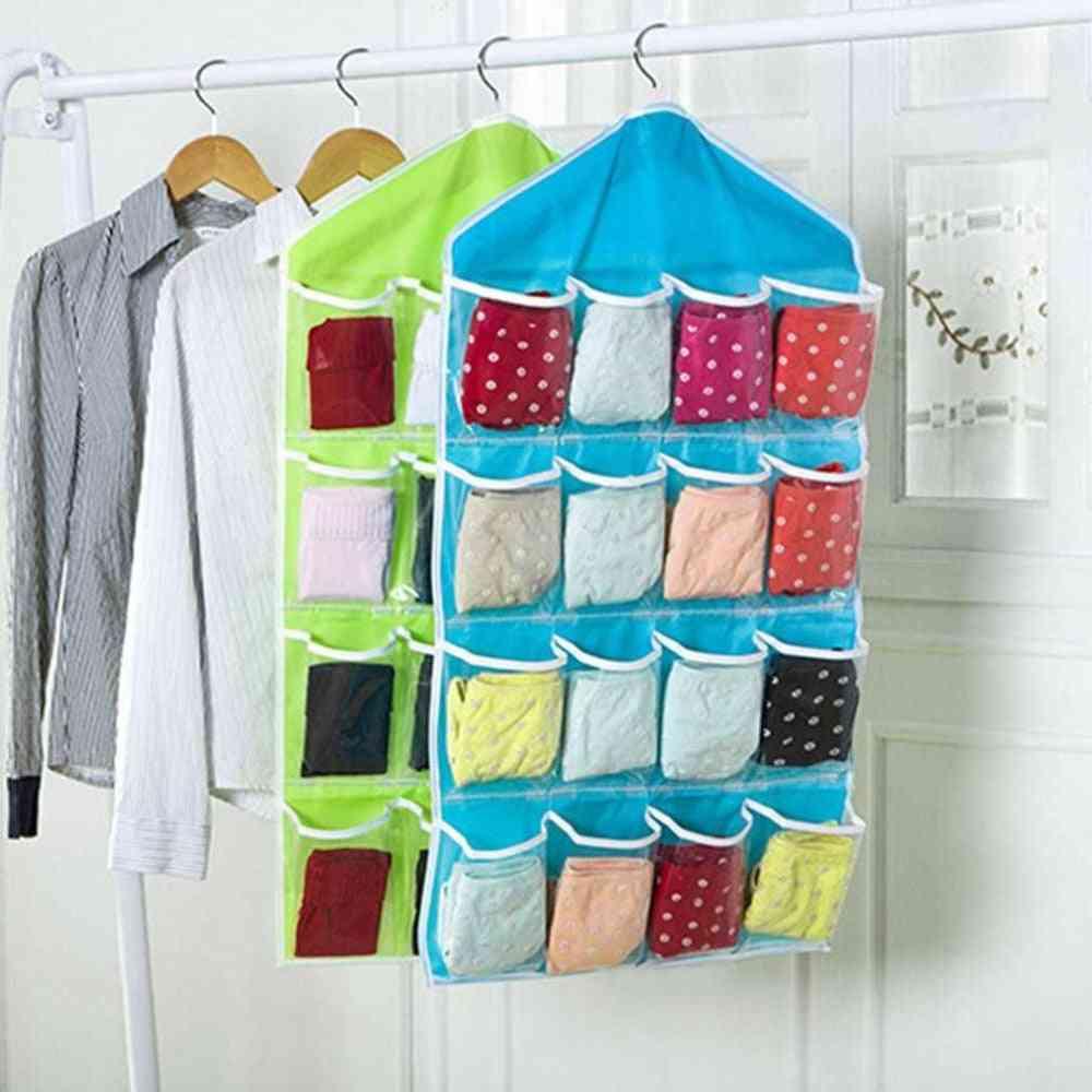 Portable 16 Grid Closet Hanging, Socks Bra Underwear, Organizer Storage Bag