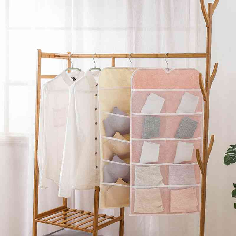 Pockets Sock- Bra & Underwear Hanger, Hanging Double-sided, Storage Bag
