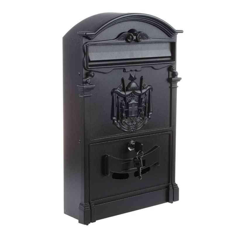 Heavy Duty Black Aluminium Lockable Secure Letter Post Box