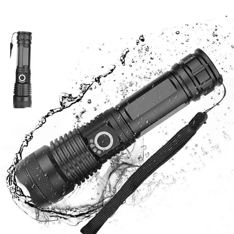 5-modes Usb Zoom Led Torch - Xhp50, 18650 Or 26650 Battery For Camping & Outdoor