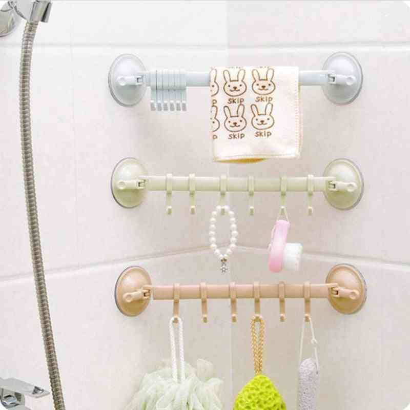 Adjustable Hook Rack, Double Suction Cup Towel Hanging Shelves