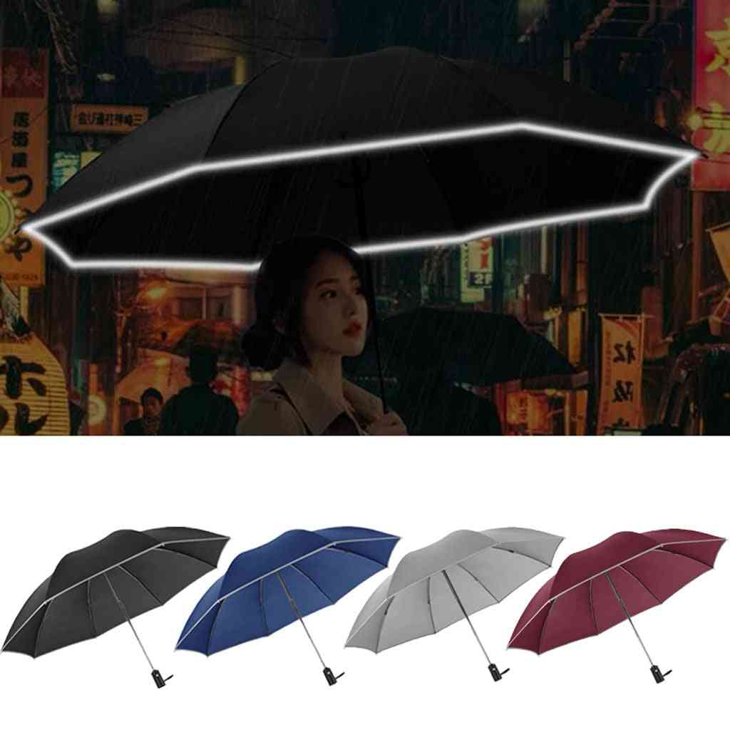 Automatic Reverse Folding, Business Umbrella With Reflective Strip