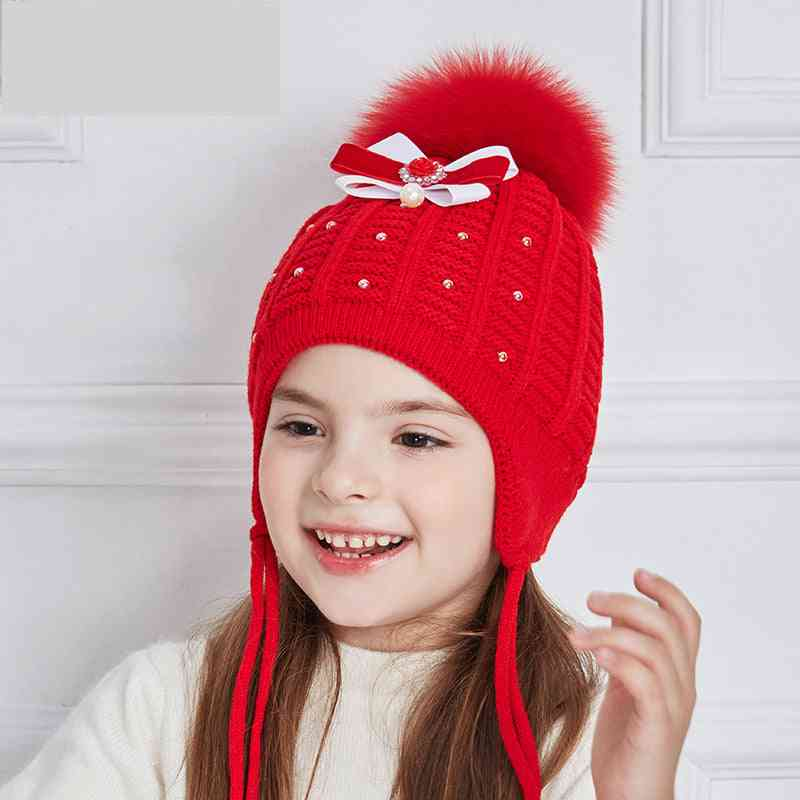 Bow-knot Knitted Baby Hat, Girl Rhinestones Pearl Winter Hats