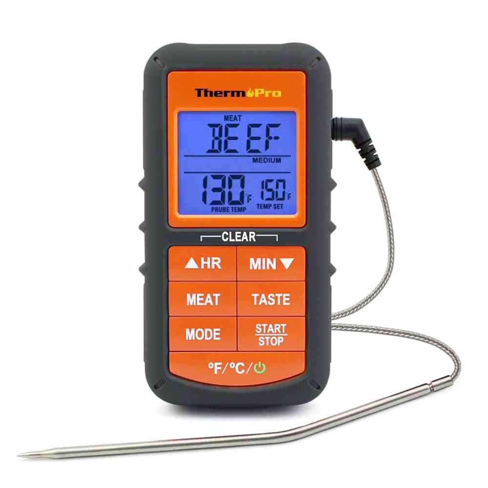 Digital Single Probe Kitchen Cooking Food Meat Thermometer, Temperature Alarm