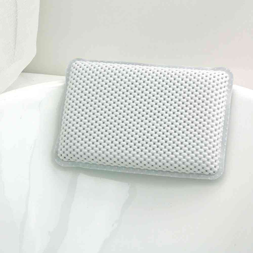 Bath Pillow With Suction Cups, Neck And Back Support - Bathroom Accersories