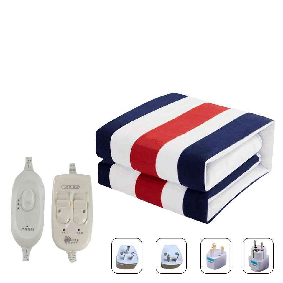 Electric Heated Blanket, Double Control Small Printed Manta Electrica Bed Warmer Pad