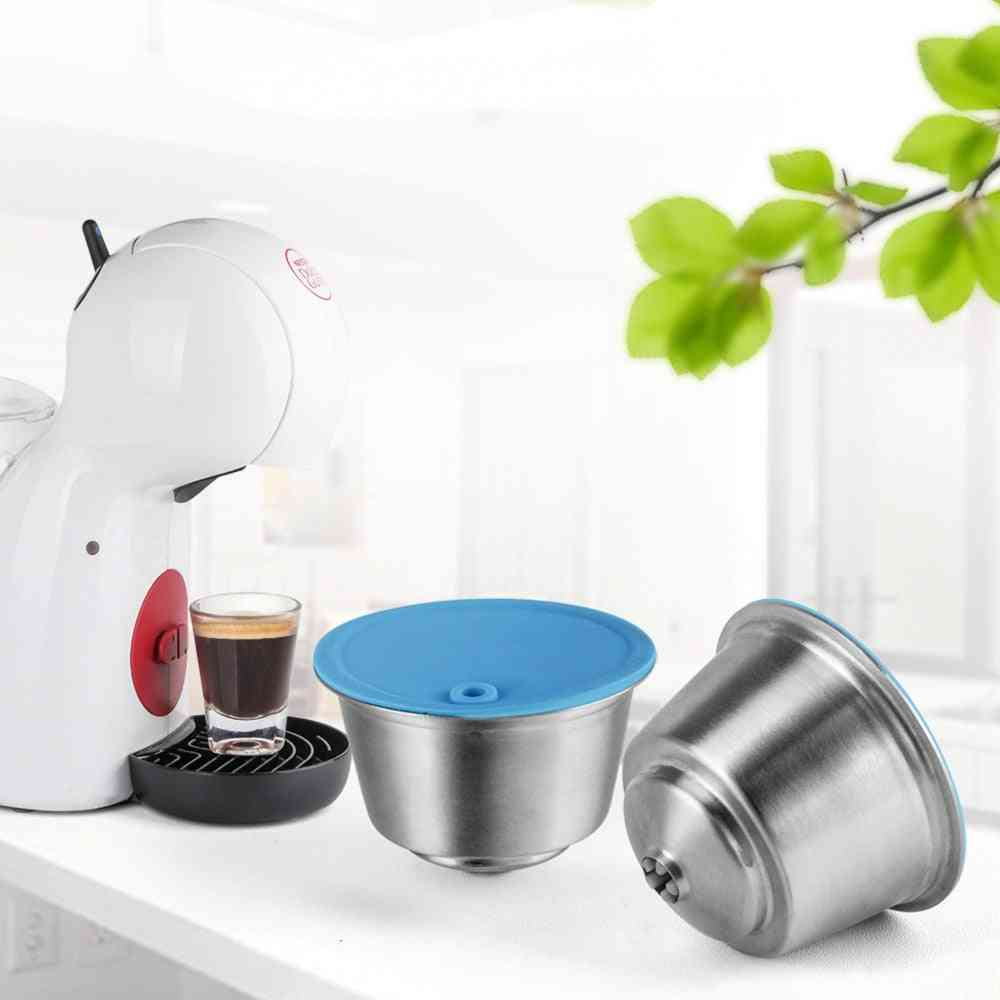 Stainless Steel Metal Reusable Capsule Silicone Cover Machine Coffee Spoon With Clip