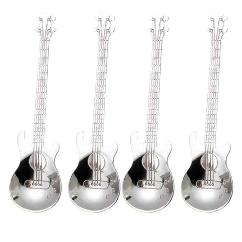 Guitar Stainless Steel Musical Coffee Spoons / Teaspoons