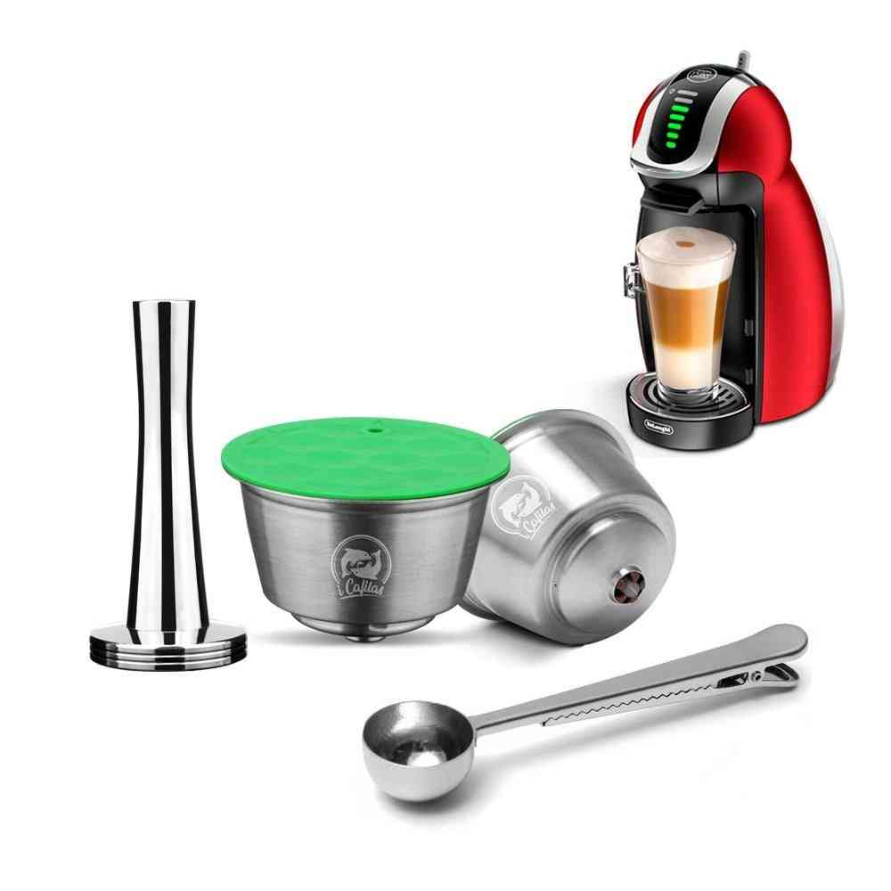 Reusable Dolce Gusto Capsule Compatible With Coffee Machine Refillable Filter Dripper Tamper