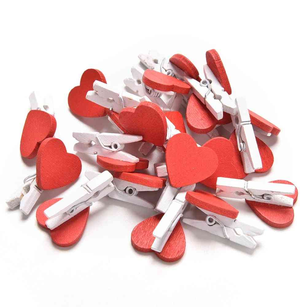 20pcs- Cute Kawaii Love Hearts, Wooden Paper Clips, Photo Paper, Peg Pin
