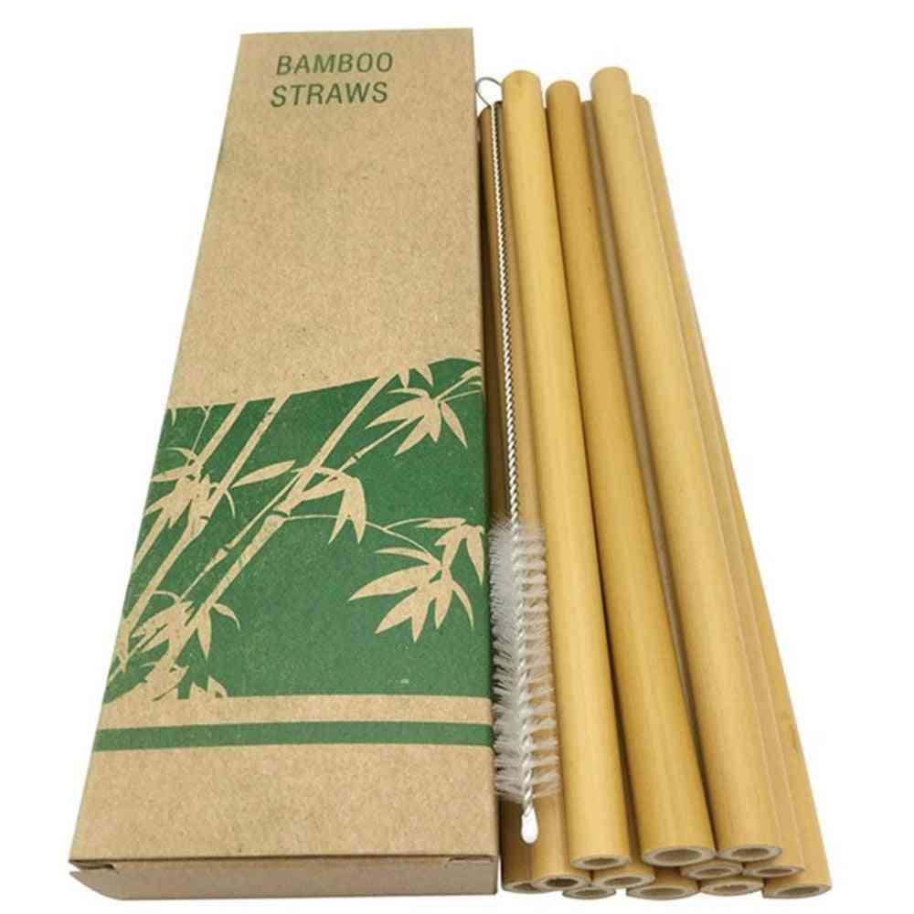 Natural Bamboo Straw With Case + Clean Brush Eco-friendly