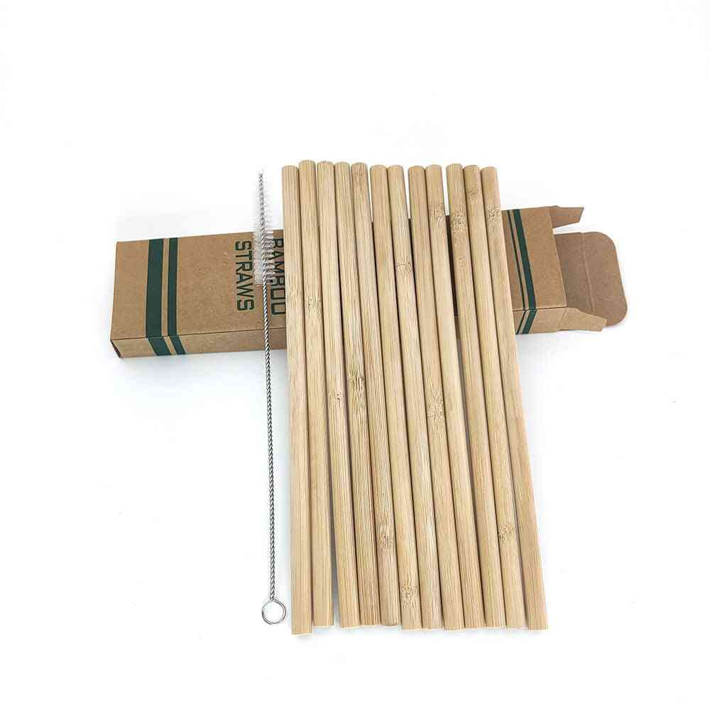 Reusable Eco-friendly Bamboo Drinking Straws & Clean Brush