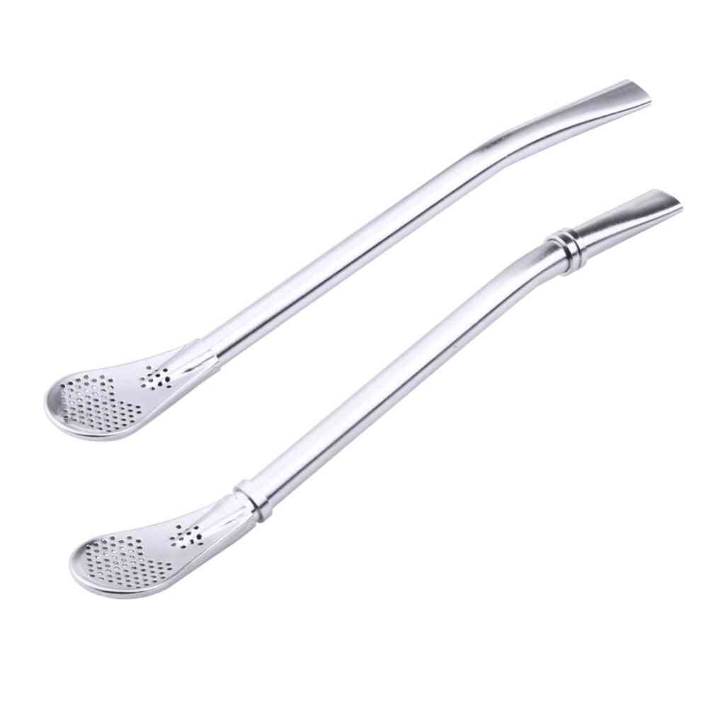 Stainless Steel- Drinking Straw, Reusable Spoon Tea Filter Tools