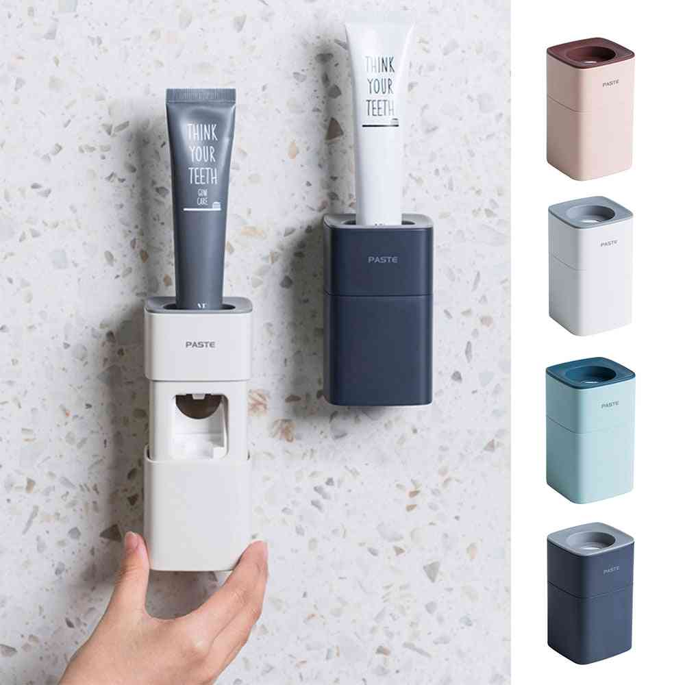 Automatic Dust-proof, Toothbrush Toothpaste, Dispenser  Wall Mount Holder