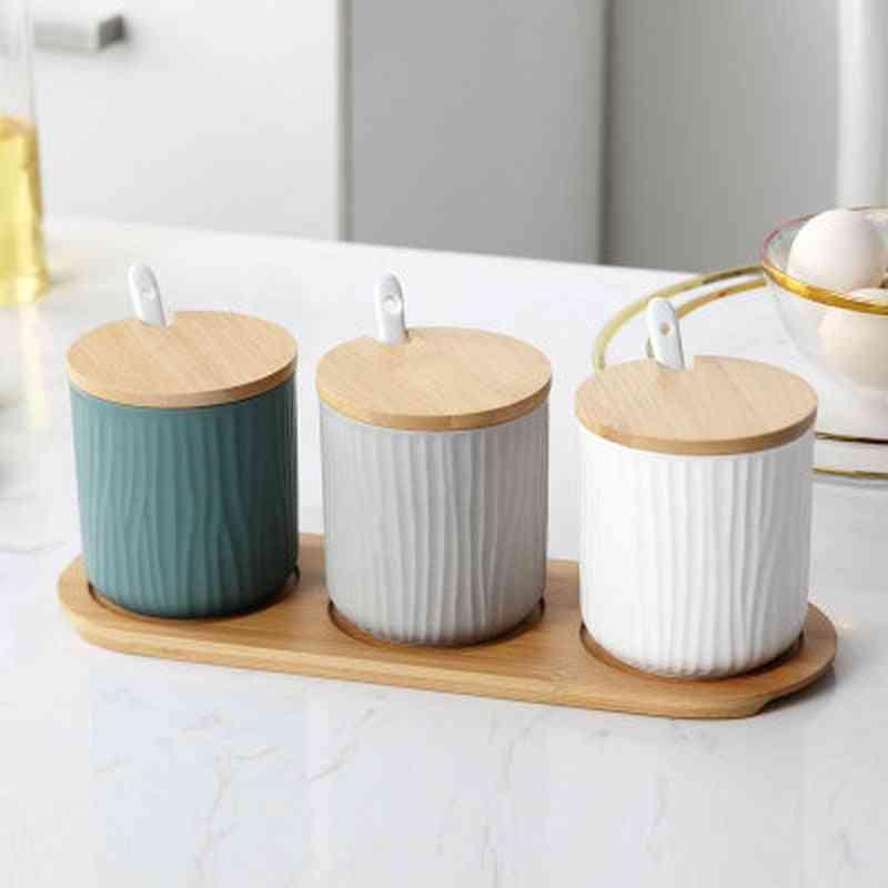 Nordic Home Creative Ceramic Seasoning Jar With Lid