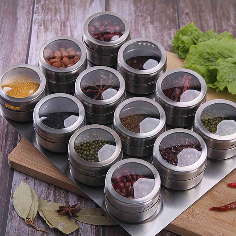 Magnetic Dustproof Visible Stainless Steel Spice Can, Seasoning Boxes