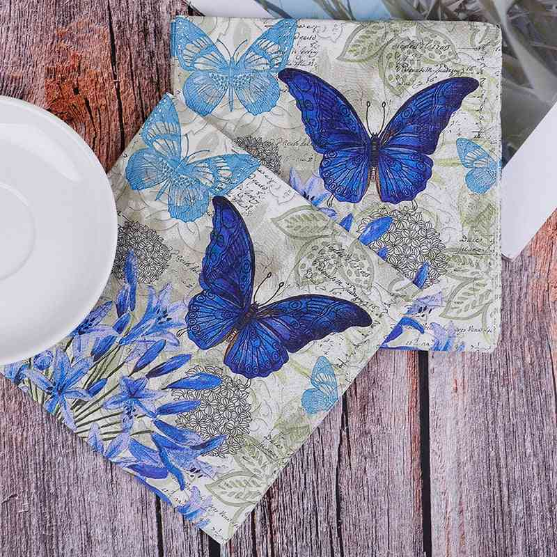Flower Butterfly Stamp Design - Elegant Table Tissue Paper Napkins