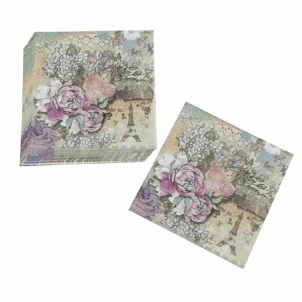 Printed Rose Design Paper Napkins