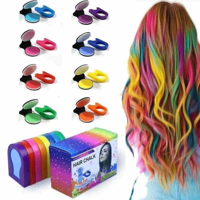 Temporary Fast Hair Dye Powder Cake Styling Chalk Set
