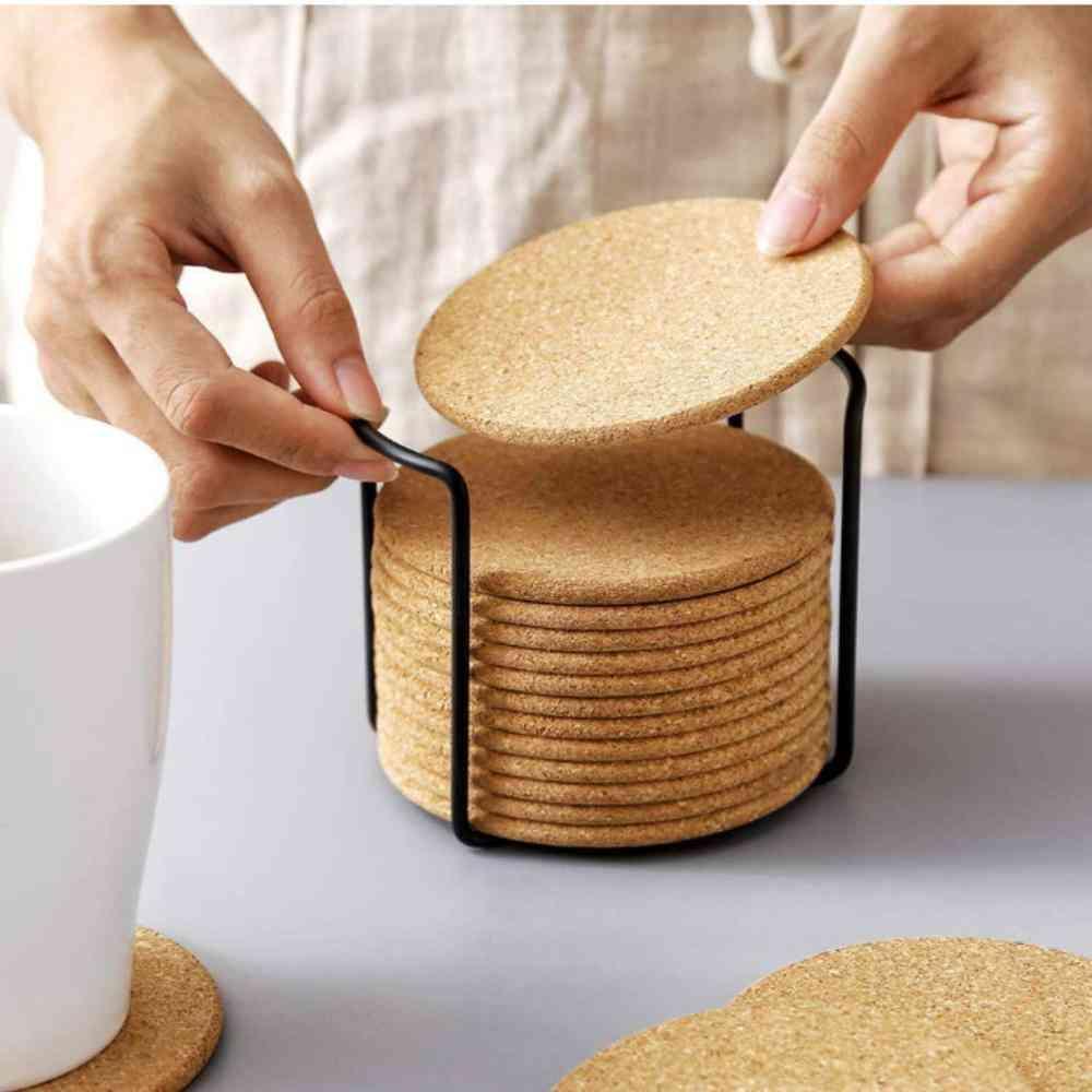 Natural Round Wooden, Slip Slice, Cup Mat Pad, Tea Coffee Mug Holder For Tableware