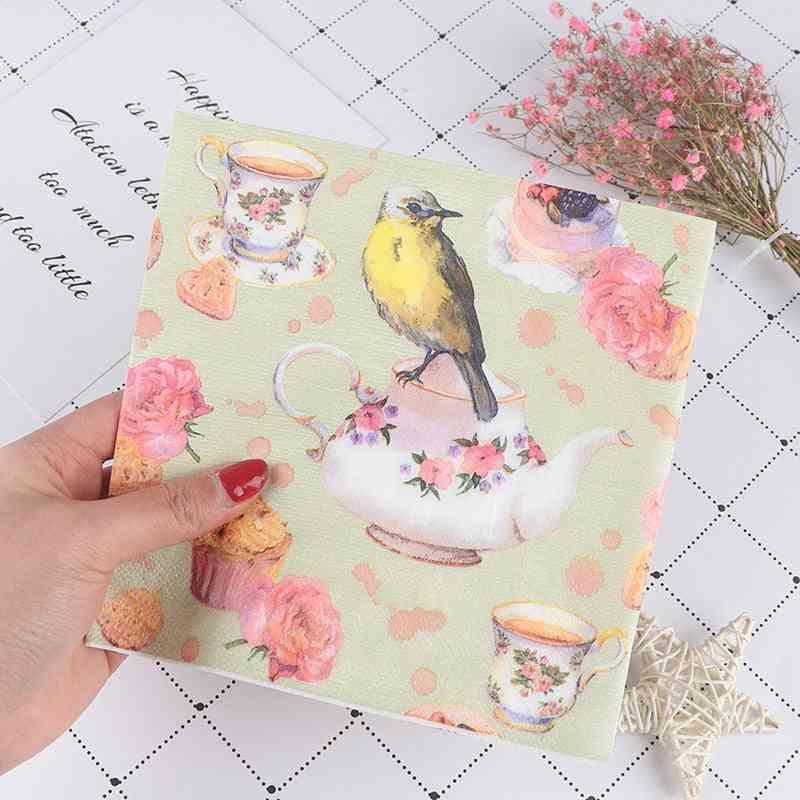 Flower And Bird Decoupage Napkin, Tissue Paper