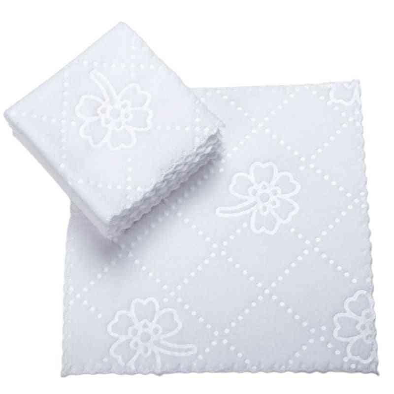 Ultrasonic Cut Edge Lace Square White Napkin