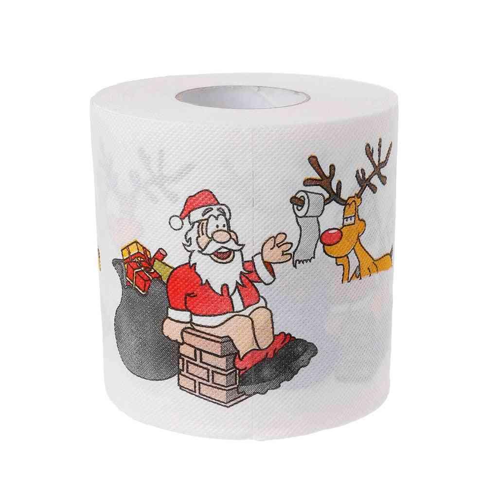 Christmas Santa Claus, Deer Print, Toilet Roll Tissue Paper