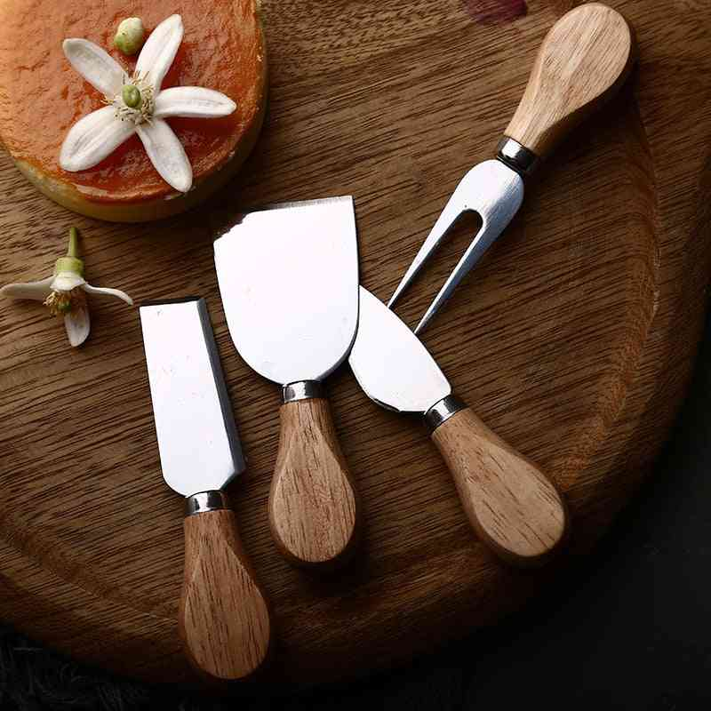 Wood Handle- Bamboo Cheese, Cutter Slicer Knife Sets