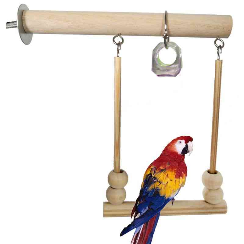 Bird Swing, Wooden Parrot Perch, Play Stand With Chewing Beads, Cage